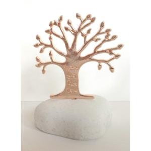 Μπομπονιέρα βότσαλο με χρυσό δέντρο ζωής